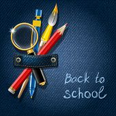 Back to school. Jeans background with school supplies. Vector illustration.