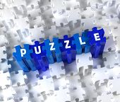 Creative 3D pieces of puzzle and word PUZZLE