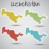 stickers in form of Uzbekistan