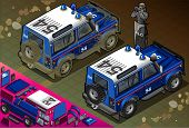 Isometric Police Off Road Vehicle In Rear View