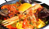 picture of valencia-orange  - Spanish paella with seafood in a pan  - JPG