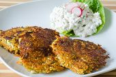 Vegetable Patties With Cottage Cheese And Radish Salad