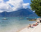 Beach of Lake Garda at Torri del Benaco