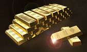 foto of treasury  - 3d illustration of stacked bars of gold bullions - JPG