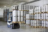 MOSCOW - OCT 16: Autoloader loading beer kegs in stock brewery Ochakovo on Oct 16, 2012 in Moscow, R