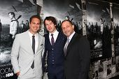 LOS ANGELES - JUL 10:  Thomas Sadoski. Johnny Gallagher Jr., Alan Poul arrives at the HBO series