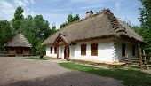 Reconstruction of a traditional farmer's house in open air museum Kiev Ukraine