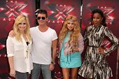 LOS ANGELES - JUL 11:  Demi Lovato, Simon Cowell, Paulina Rubio, Kelly Rowland at the