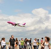 DORTMUND, GERMANY - JUNE 22: Passengers on a runway in airport of Dortmund, Germany on June 22, 2013