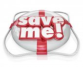 stock photo of coast guard  - Save Me words on a life preserver to illustrate rescue - JPG