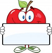 Red Apple Character Holding A Banner