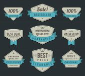 Vintage labels or badges and ribbon retro style set. Vector design elements.