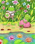 stock photo of banjo  - Colorful illustration of a pond with a frog playing the banjo to his girlfriend - JPG
