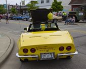Yellow 1968 Chevy Corvette Roadster Rear View