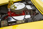 Yellow 1968 Chevy Corvette Roadster Engine