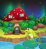 Illustration of a frog jumping near the red mushroom house