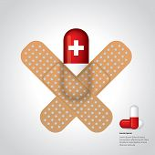 Medicine Sticked To Gray Background With Plasters
