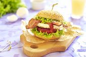 stock photo of bap  - Egg burger with tomato - JPG