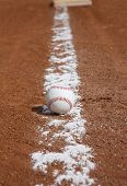 picture of infield  - Baseball on the Infield Chalk Line - JPG