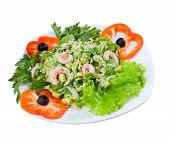 Prawn Salad. Simple And Healthy Salad Of Shrimp.