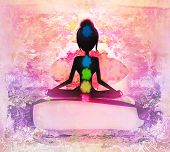 Yoga Lotus Pose. Padmasana With Colored Chakra Points.