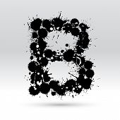 Letra B, formado por manchas de tinta