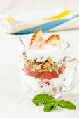 Strawberry Pieces With Cereals And Yogurt
