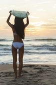 Rear view of beautiful sexy young woman surfer girl in bikini with white surfboard on her head on a