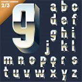 Vector alphabet of simple 3d letters. Sans bold. Small cases Chrome