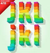 Alfabeto colorido roto. Vector ilustración símbolos j k l