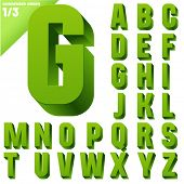 Three-dimensional condensed alphabet. Vector illustration of 3d font characters. Clear color style. Upper case