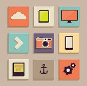 Vintage Icons Set. Retro backgrounds