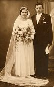 CZESTOCHOWA, POLAND, CIRCA 22 DEC 1935 - vintage photo of unidentified newlyweds, Czestochowa, Poland, circa 22 Dec 1935
