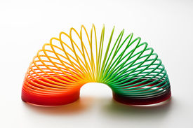 picture of coil  - Rainbow coloured slinky toy made of a plastic wire spiral coil which enables flexibility and mobility - JPG