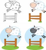 foto of counting sheep  - Sheep Cartoon Characters Jumping Over A Fence  Collection Set - JPG