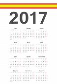 Spanish 2017 Year Vector Calendar