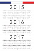 French 2015, 2016, 2017 Year Vector Calendar