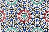 Traditional handmade Moroccan stone mosaic as background