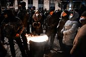 Kiev, Ukraine - January 20, 2014: Mass Anti-government Protests In The Center Of The Ukrainian Capit