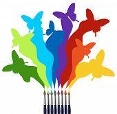 Pinseln und farbigen Schmetterlinge rainbow