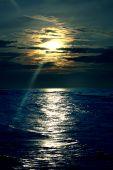 Decline Over Dark Blue By Sea