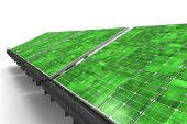 Detail Of A Line Of Green Solar Panels