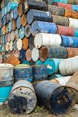 old empty barrels containing hazardous chemicals