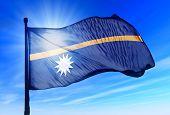 Nauru flag waving on the wind