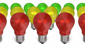 Row Of Red Light Bulbs In Front Of Yellow And Green Ones