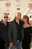 Ron Perlman with Charlie Hunnam and Katey Sagal  at the Premiere Screening of 'Sons of Anarchy'. Par