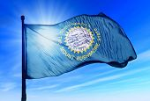 South Dakota (USA) flag waving on the wind