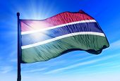 Gambia flag waving on the wind