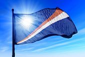 Marshall Islands flag waving on the wind