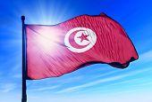 Tunisia flag waving on the wind